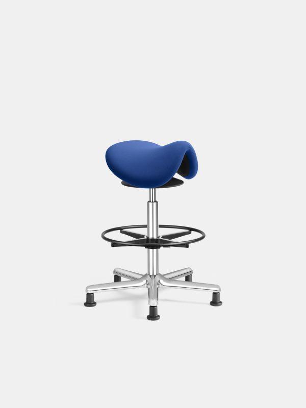 LOEFFLER-Designteam-SEDLO-Barhocker-Blau-Niedriges-Fusskreuz