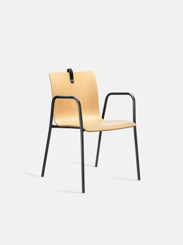 Stuhl MESAMI 0011 mit Holzschale | Fritz Močnik | Buche Natur - Schwarz