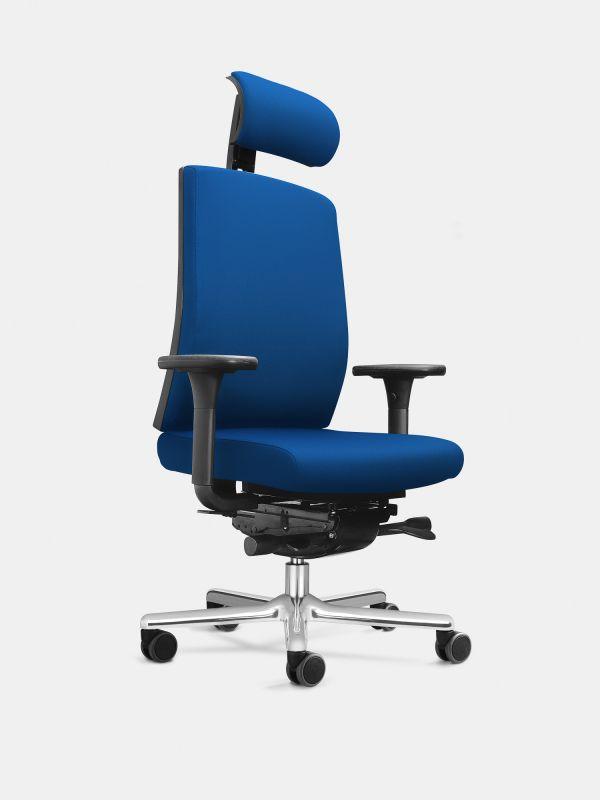 Drehstuhl FIGO K95 Blau mit Armlehnen ohne Lordosenstütze LÖFFLER Designteam