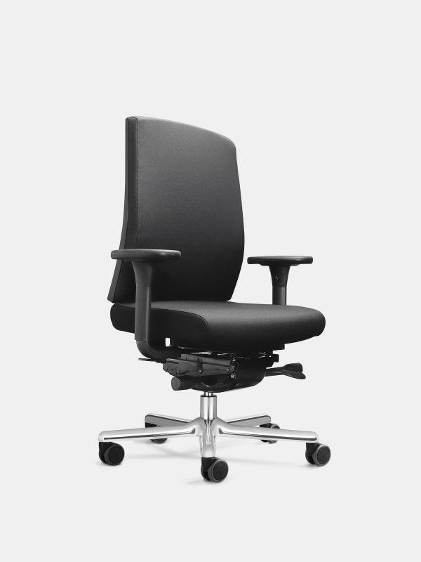 Drehstuhl FIGO 19 Schwarz mit Armlehnen ohne Lordosenstütze LÖFFLER Designteam