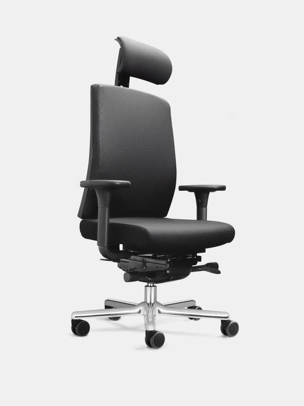Drehstuhl FIGO K95 Schwarz mit Armlehnen ohne Lordosenstütze LÖFFLER Designteam