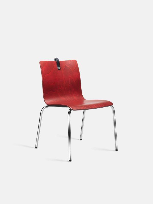 Stuhl MESAMI 0010 mit Holzschale Buche-Bordeaux