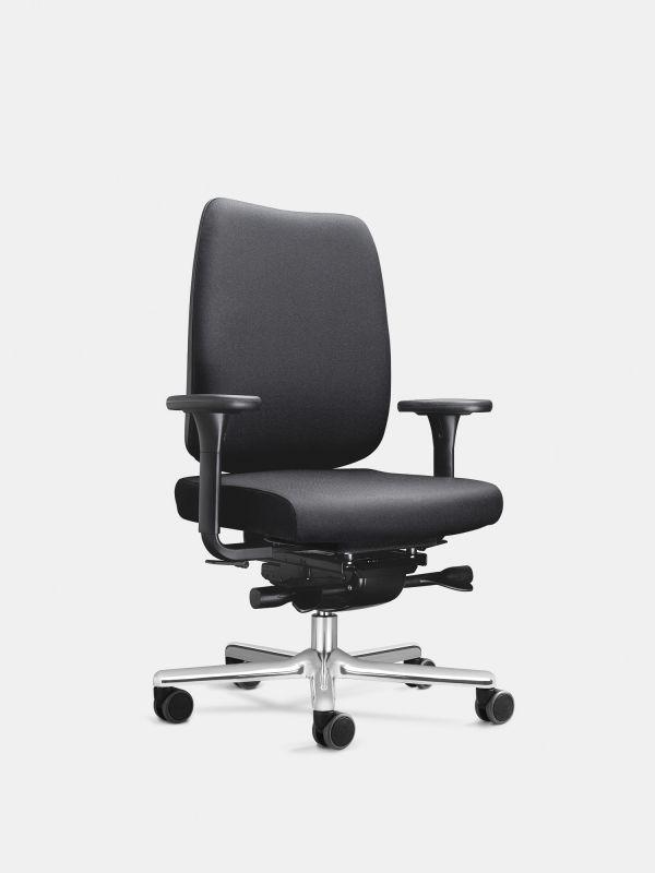 Drehstuhl FIGO 20 | ergonomisch | Schwarz mit Armlehnen mit Lordosenstütze | LÖFFLER Designteam
