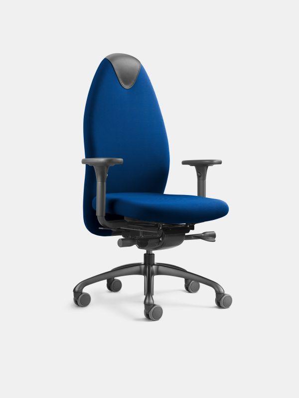 Drehstuhl TANGO 24 Blau mit Armlehnen mit Lordosenstütze LÖFFLER Designteam