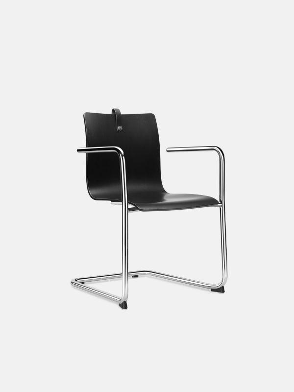 Stuhl MESAMI 0021 mit Holzschale | Fritz Močnik | Buche Schwarz - Poliert